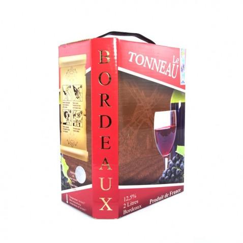 Bịch rượu Bordeaux 2L Le Tonneaux mặt sau